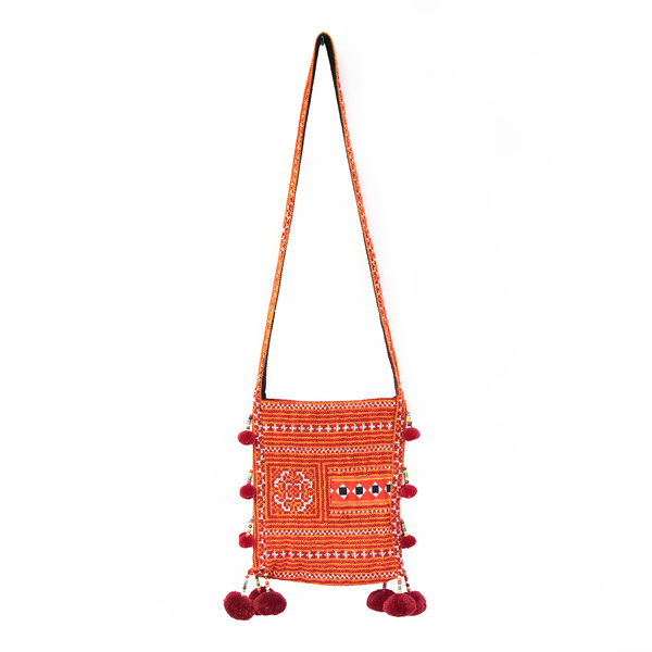 Orange Hmong Thai Pattern Shoulder Bag with Beaded Pom Pom