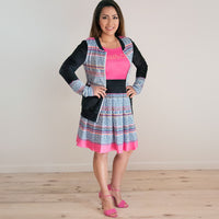 Black & Pink Hmong Batik Pleated Skirt