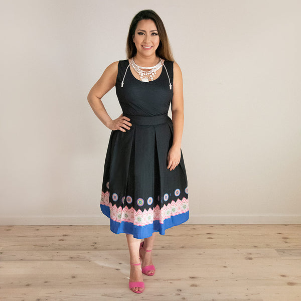 Black Pleated Skirt with Blue Printed Hmong Trim