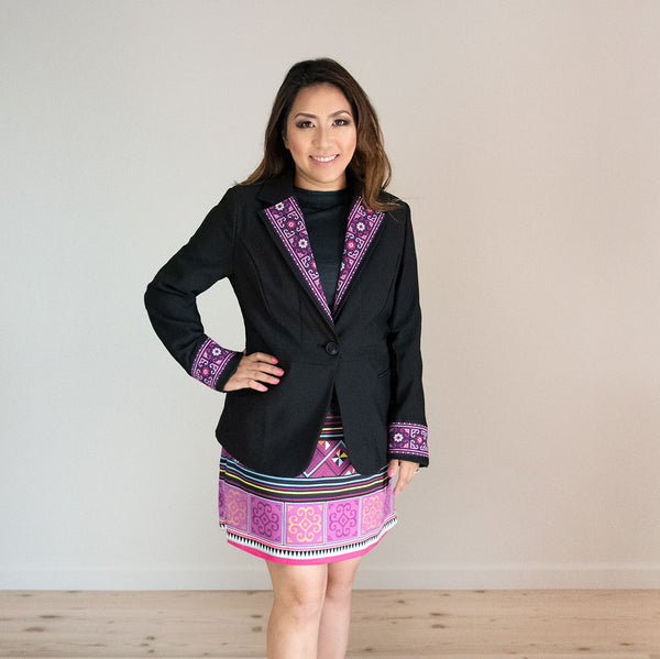 Black Blazer Jacket with Purple Hmong Embroidered Detail