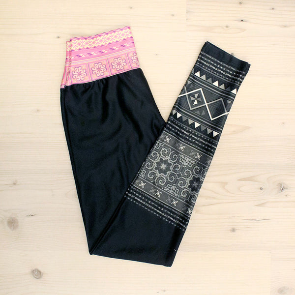 Black Velour Yoga Leggings with Pink Hmong Trim Waistband