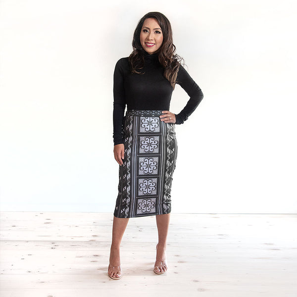 PREORDER: Black & White Pencil Skirt with Hmong Flower Design