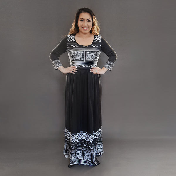 Women's Black & White Hmong Flower Maxi Dress