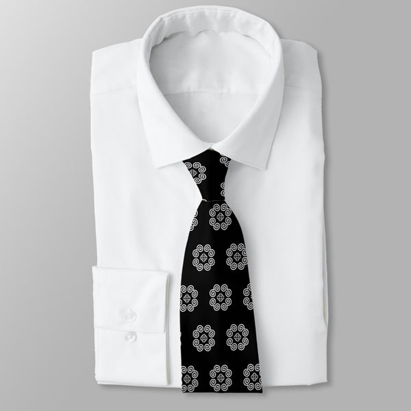 Men's Black & White Hmong Elephant Foot Print Neck Tie