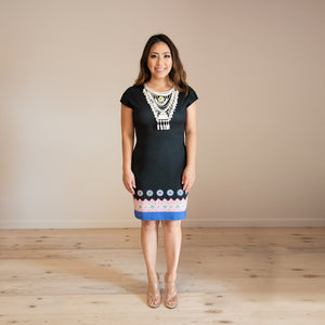 Capsleeve Black Bodycon Dress w/ Blue Hmong Trim