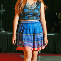 Blue & Orange Hmong Pleated Mini Skirt