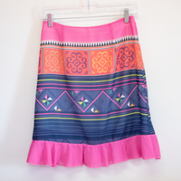 Chiffon Blue & Pink Ruffle Skirt with Hmong Printed Pattern