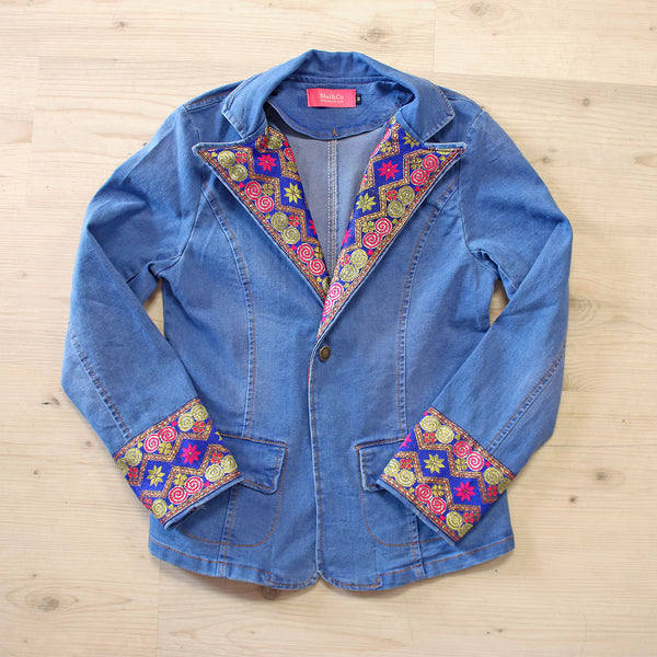 Denim Jean Jacket with Blue & Red Hmong Embroidered Detail