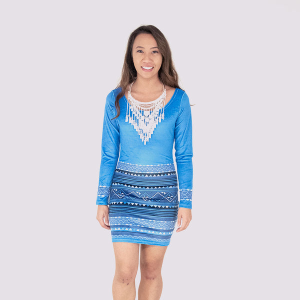 Royal Blue Hmong Pattern Long Sleeve Velvet Bodycon Dress