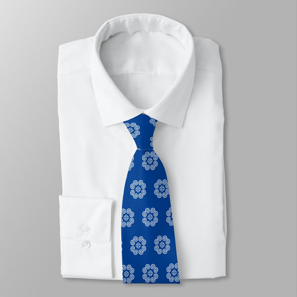Men's Blue & White Hmong Elephant Foot Print Neck Tie
