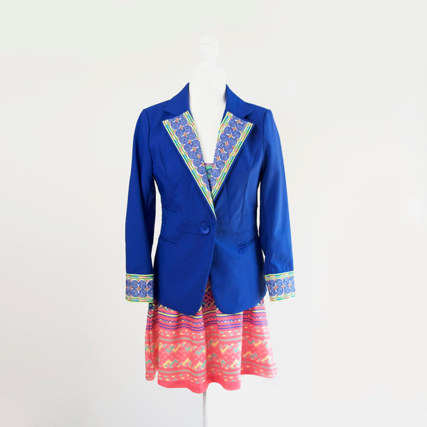 Dark Blue Blazer Jacket with Blue Hmong Snail Embroidered Detail