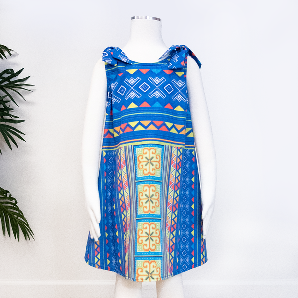 Girl's Blue & Yellow Hmong Flower Shoulder Tie Dress