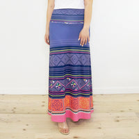 Blue Purple Hmong Print Pattern Maxi Skirt