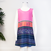 Girl's Blue & Pink Hmong Pattern Sleeveless Dress