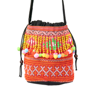 Orange Hmong Thai Pattern Shoulder Strap Bucket Bag