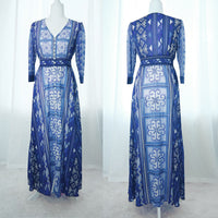 Blue Hmong Flower Print Chiffon Button Up Maxi Dress