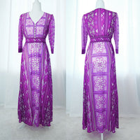 Purple Hmong Flower Print Chiffon Button Up Maxi Dress