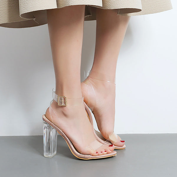 Strapy Clear Chunky High Heels