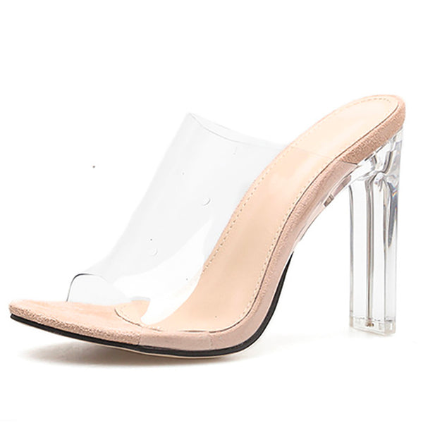 Clear Slip On High Heels