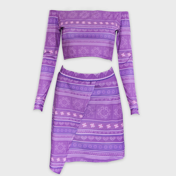 Purple Off Shoulder Hmong Printed Crop Top & Skirt Outfit