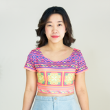 Hmong Printed Pattern Short Sleeve Crop Top Shirt