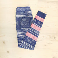 Blue Hmong Cross Stitch Print Leggings with Pink Hmong Stripes