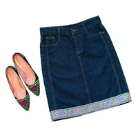 Denim Pencil Skirt with Hmong Embroidered Detail