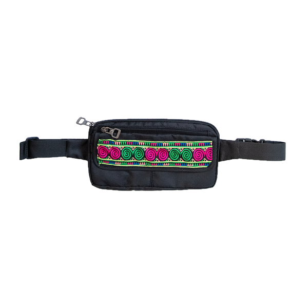 Black Fanny Pack with Hmong Embroidered Detail