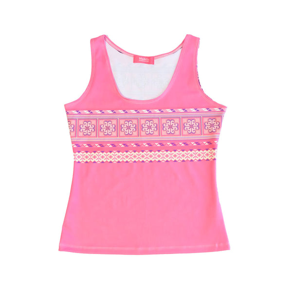 Rose Pink Hmong Flower Tank Top