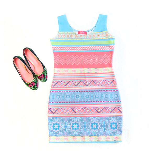 Blue & Pink Stripe Bodycon Sleeveless Dress