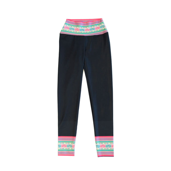 Girl's Black & Snail Stripe Hmong Velour Yoga Leggings