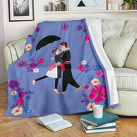 Hmong Couple Spring Floral Blanket