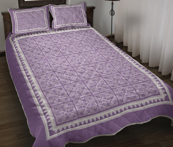Purple Heather Heart Quilt Bed Set