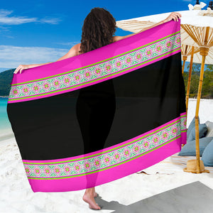 Chiffon Sarong Scarf with Black & Pink Hmong House Motif Trim