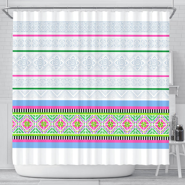 White Hmong Stripe Shower Curtain