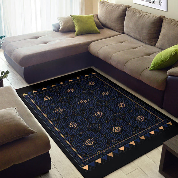 Black & Blue Hmong Elephant Motif Area Rug