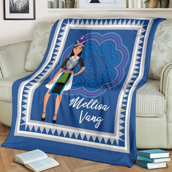 Personalized Teen Girls Hmong Blue & White Cozy Fleece Blanket