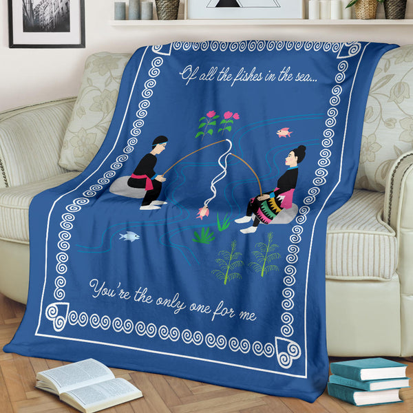 Hmong Couple Fishing Throw Blanket