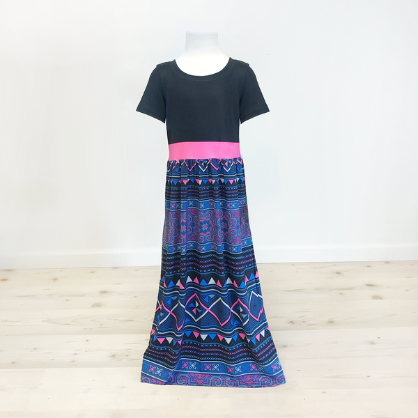 Girl's Black Top & Pink Band Hmong Printed Maxi Dress