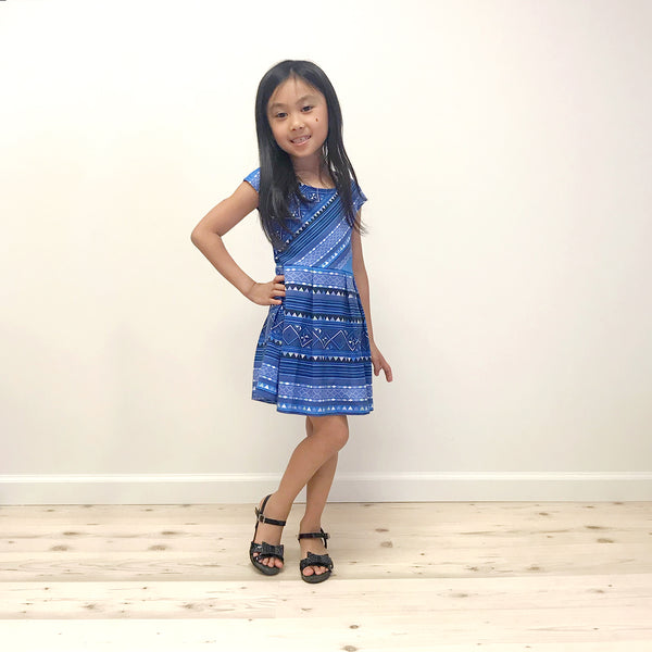Girls Blue Hmong Pattern Cap Sleeve Dress