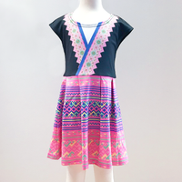 Girls Hmong V-Trim Printed Cap Sleeve Dress