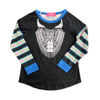 Girl's Long Sleeve Hmong Black & Green Strip Xauv Shirt