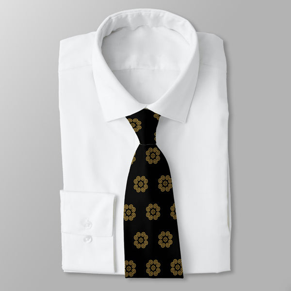 Men's Black & Gold Hmong Elephant Foot Print Neck Tie