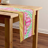 Pink & Green Hmong Floral Pattern Cotton Table Runner with Faux Sequin Gold Trim