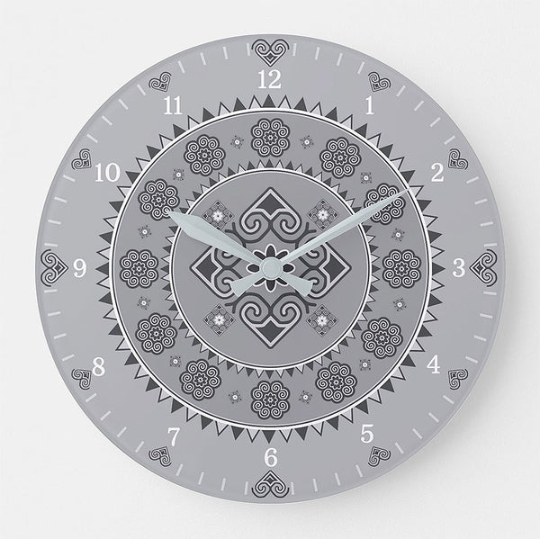 Hmong Round Wall Clock - Light Gray