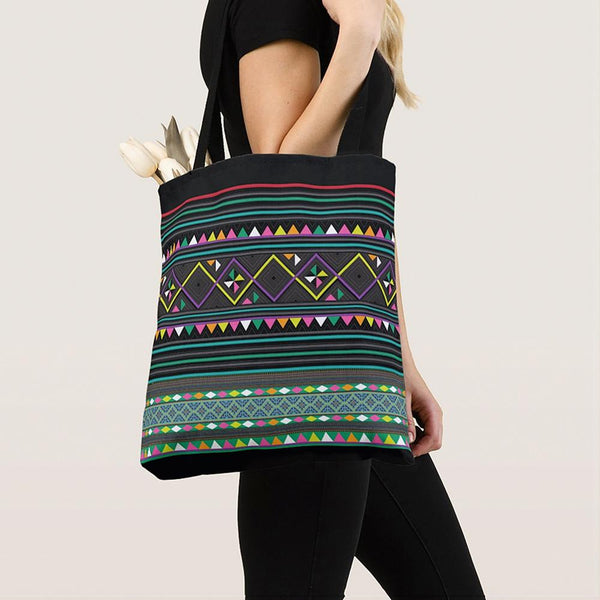 Black & Green Hmong Geometric Pattern Simple Tote