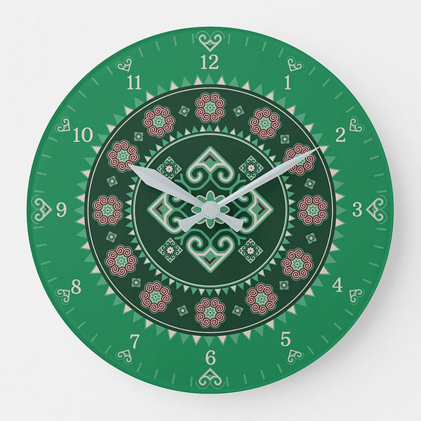 Hmong Round Wall Clock - Green
