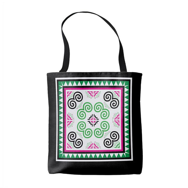 Green & Pink Hmong Pattern Simple Tote