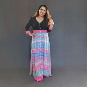 Black, Blue & Pink Hmong Chiffon Button Up Maxi Dress