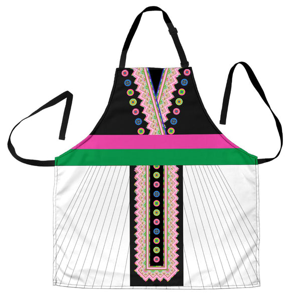Faux Hmong Dress Shirt & White Skirt Apron